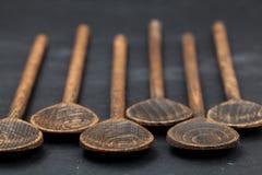 空木头集合的匙子  免版税库存图片