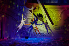 空气体操运动员在新年童话执行 免版税库存图片