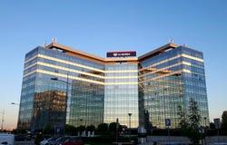 空气塞尔维亚大厦在贝尔格莱德 免版税图库摄影