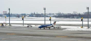 空气摩尔多瓦飞机在鲍里斯皮尔机场 基辅,乌克兰 免版税库存照片