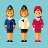 空气空中小姐,减速火箭的样式的空中小姐 服务职业字符妇女在平的样式设置了 库存照片