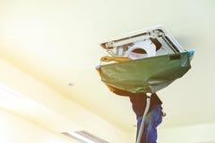 空气,调节剂,服务,适应,清洗,修理 免版税库存图片