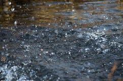 水空气滴在行动河 库存图片