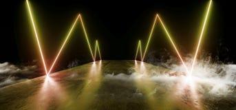 空烟未来夜霓虹展示充满活力的焕发橙黄现代未来派地下具体难看的东西地板的反射 皇族释放例证