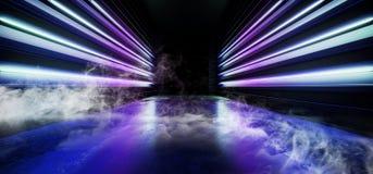 空烟未来夜霓虹展示充满活力的焕发紫色蓝色现代未来派地下具体难看的东西地板的反射 向量例证