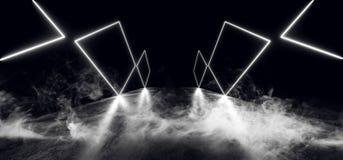 空烟科学幻想小说夜霓虹展示充满活力的焕发蓝色紫色现代未来派萤光具体难看的东西地板的反射 库存例证