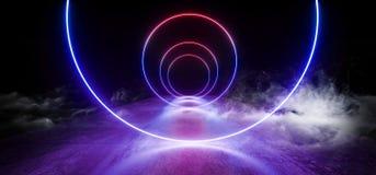 空烟雾科学幻想小说圈子霓虹展示充满活力的焕发蓝色紫色现代未来派萤光具体难看的东西地板的反射 向量例证