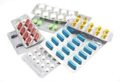 空白不同的查出的药片 库存图片