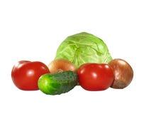 空白不同的查出的集合的蔬菜 免版税库存照片