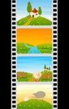 空白五颜六色的影片绵羊主街上 免版税库存图片