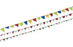 空白五颜六色的查出的细长三角旗 库存照片