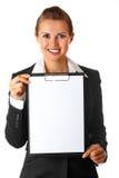 空白企业剪贴板藏品微笑的妇女 库存照片