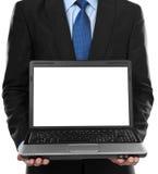 空白企业膝上型计算机人存在 库存照片