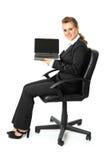 空白企业藏品膝上型计算机屏幕妇女 库存图片