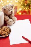 空白儿童圣诞节信函愿望 免版税库存图片