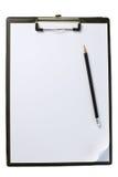 空白剪贴板纸张铅笔 免版税图库摄影
