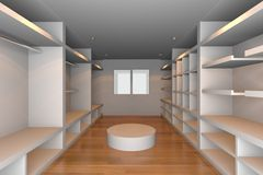 空白可容人走进去的大壁橱 免版税库存照片