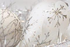 空白圣诞节银色的雪花 库存照片
