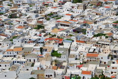 空白城市的lindos 免版税库存照片