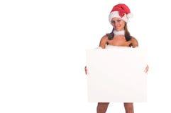 空白夫人圣诞老人・ sign 库存照片