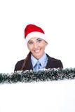 空白女实业家显示符号的圣诞老人 免版税库存图片