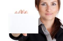 空白女实业家看板卡藏品 库存图片