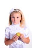 空白女衬衫的新学校女孩 库存照片