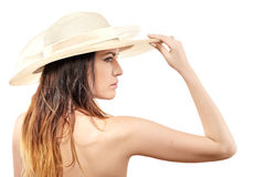 空白帽子的妇女 免版税库存照片