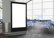 空白广告牌在机场 库存照片