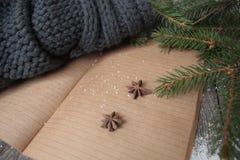 空白开放笔记本,圣诞树,雪,姜饼 免版税库存照片