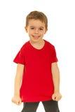 空白愉快他的显示t的孩子红色衬衣 免版税库存图片