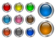 空白按钮玻璃金属集万维网 库存照片