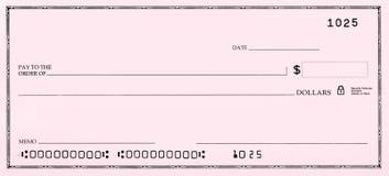 空白支票错误编号 库存图片