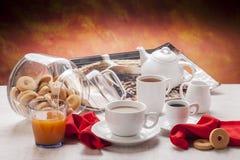空白早餐餐具 免版税库存图片