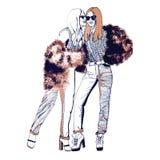 空白明亮的颜色的时装模特儿 草图 手拉的时尚例证 库存照片