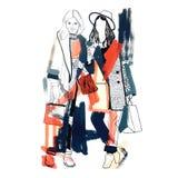 空白明亮的颜色的时装模特儿 草图 手拉的时尚例证 免版税图库摄影
