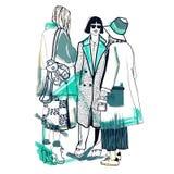 空白明亮的颜色的时装模特儿 草图 手拉的时尚例证 库存图片