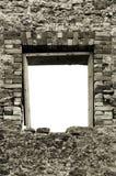 空白框架石工瓦砾破坏了土气墙壁 免版税库存图片