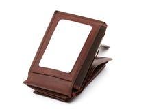 空白棕色看板卡赊帐皮革空间钱包 免版税库存照片