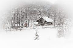 空白横向: 多雪的房子在森林 免版税库存图片