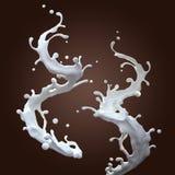 空白牛奶动态飞溅夫妇  免版税库存图片
