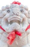 空白狮子的雕象 免版税库存图片