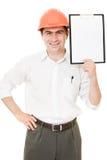 空白生意人盔甲页显示 免版税库存照片