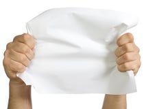 空白生意人递叶子纸张 免版税库存照片