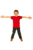 空白男孩愉快的红色衬衣t 免版税库存照片
