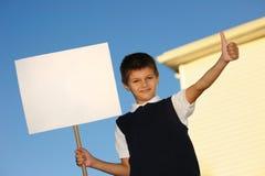 空白男小学生白色 免版税库存图片