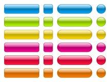 空白的五颜六色的按钮的汇集 免版税图库摄影