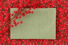 空白的亚麻制圣诞节标志 免版税库存图片