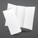 空白的传染媒介白色三部合成的小册子模板 库存照片