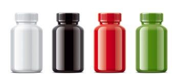 空白的光泽装瓶药片或其他配药准备的大模型 向量例证